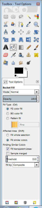 GIMP - Toolbox tool options bucket fill