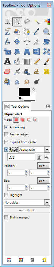 GIMP - Toolbox Tool Options Circle