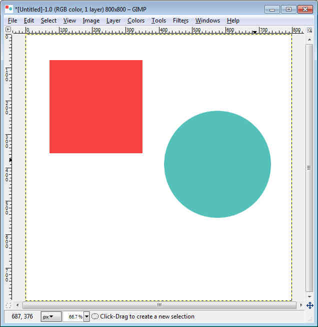 GIMP - Workspace fill circle and square