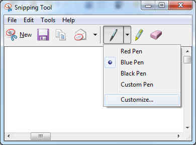 Snipping Tool pen color.
