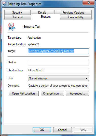 Creating a Shortcut to Snipping Tool.